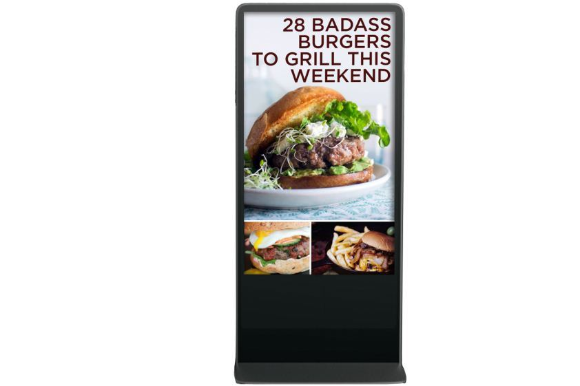 Floor Standing Ad Player with Protective Glass