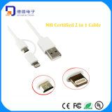 Mfi Certificate PVC Material 2 in 1 USB Lighting Cable for Charging (LC-CB2001)