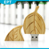 Leaf Shape Wood Custom Logo USB Flash Drive (TW074)