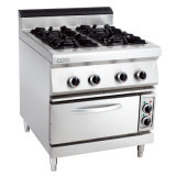 Oppein Commercial Gas 4-Burner Range Electric Oven (LUR- 890-4EV)