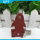 Brown Fish Shaped Leather Keychain USB Flash Drive (TL012)